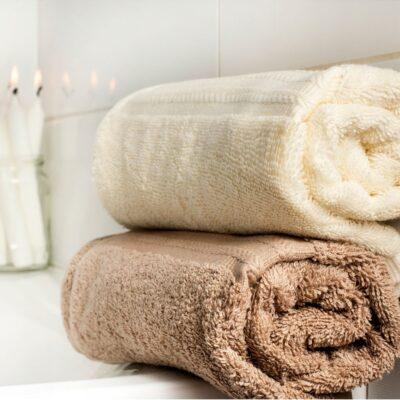 Ręcznik kąpielowy bawełniany 550 g/m2 gruby splot, beżowy