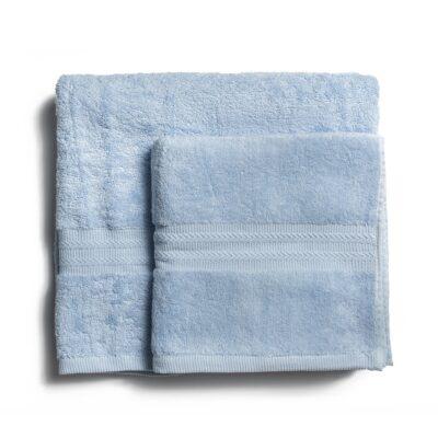 Ręcznik kąpielowy bawełniany 550 g/m2 gruby splot, jasny niebieski
