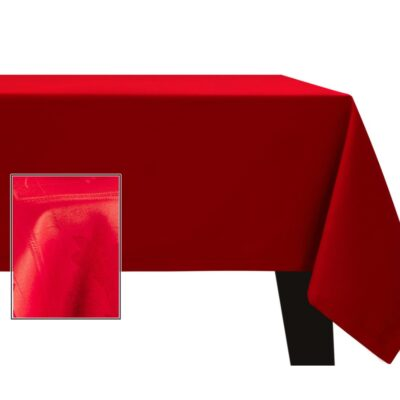 Czerwony obrus plamoodporny - wzór kwiaty