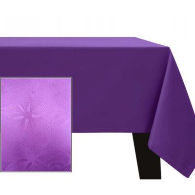 Fioletowy obrus plamoodporny - wzór kwiaty