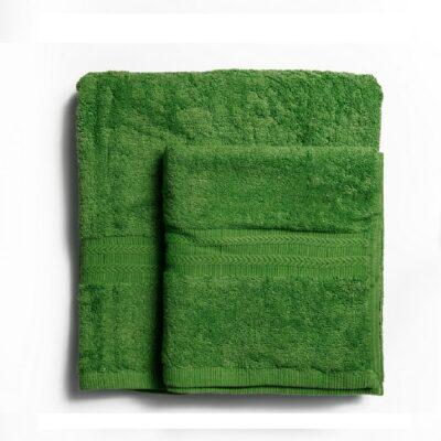 Ręcznik kąpielowy bawełniany 550 g/m2 gruby splot, ciemny zielony
