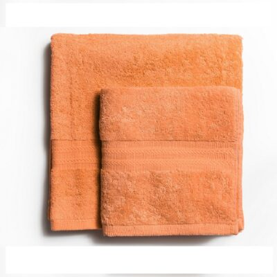 Ręcznik kąpielowy bawełniany 550 g/m2 gruby splot, brzoskwiniowy